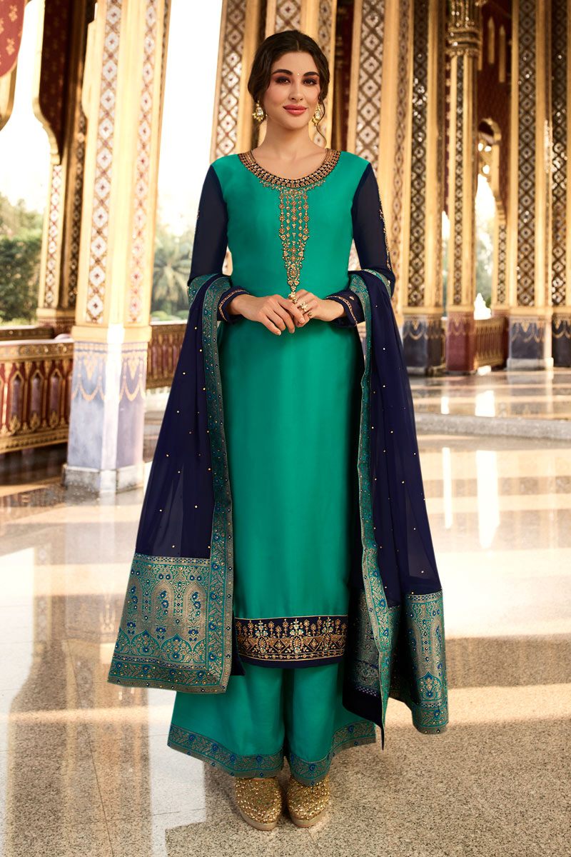 Satin Georgette Fabric Function Wear Designer Embroidered Turquoise Color Palazzo Dress