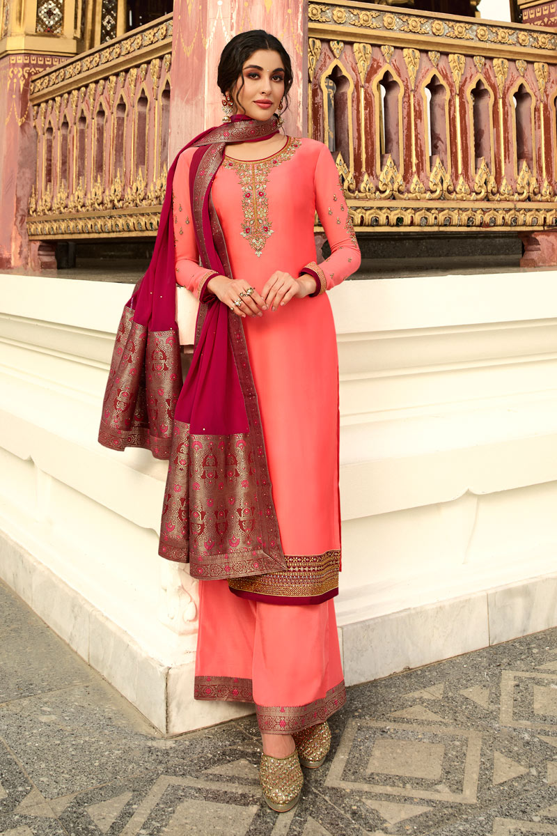 Designer Peach Color Function Wear Satin Georgette Fabric Embroidered Palazzo Suit