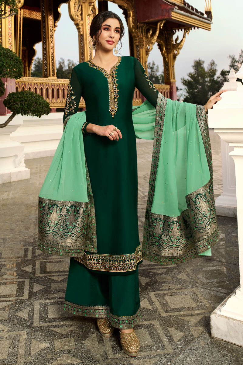 Satin Georgette Fabric Dark Green Color Function Wear Designer Embroidered Palazzo Dress