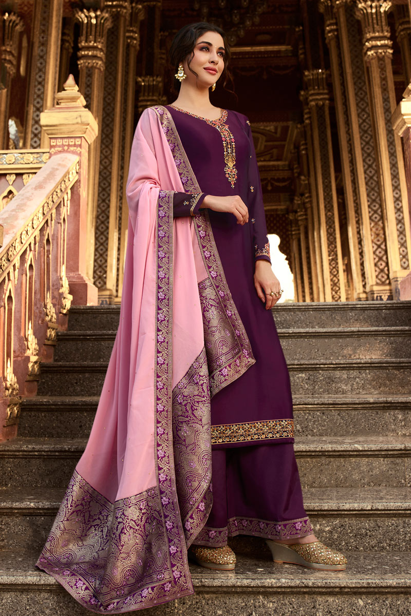 Purple Color Function Wear Designer Embroidered Palazzo Dress In Satin Georgette Fabric