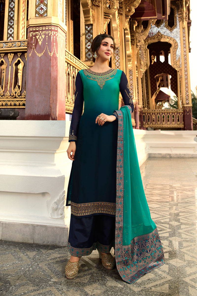 Eid Special Designer Function Wear Navy Blue Color Satin Georgette Fabric Embroidered Palazzo Suit