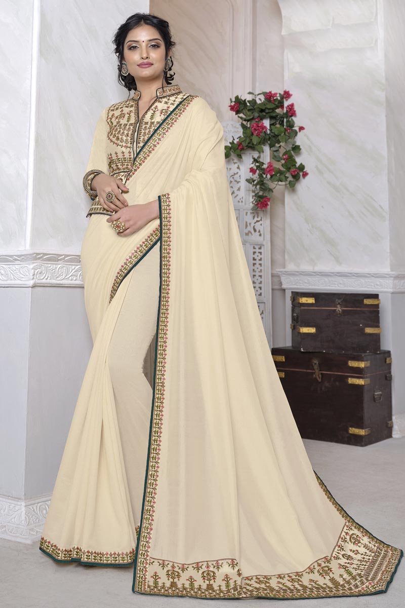 Beige Color Festive Wear Art Silk Fabric Alluring Saree With Embroidered Blouse