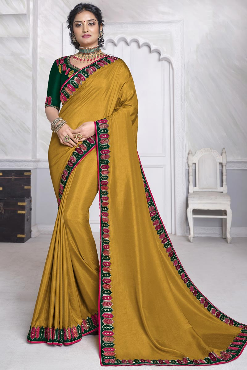 Festive Wear Mustard Color Alluring Art Silk Fabric Saree With Embroidered Blouse