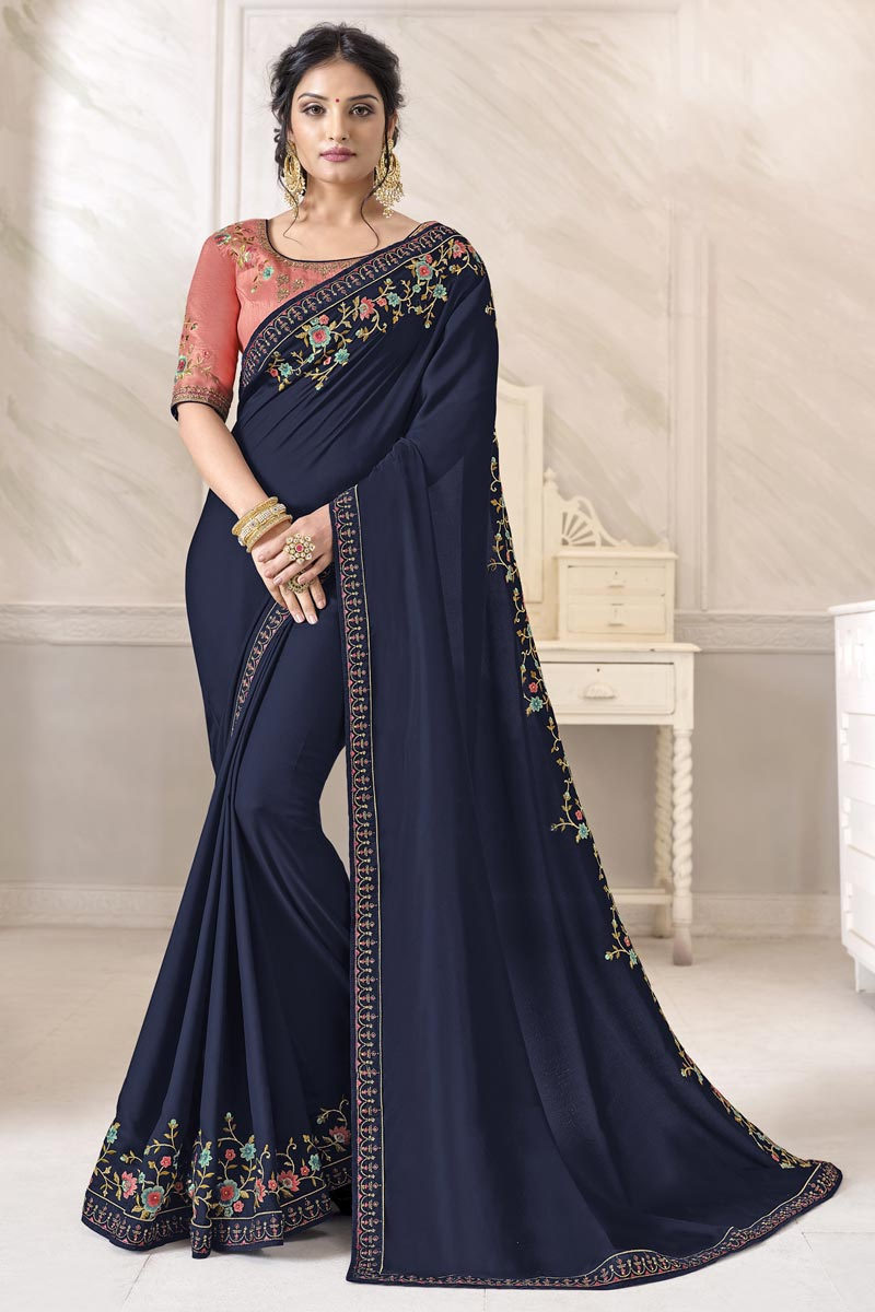 Navy Blue Color Alluring Festive Wear Art Silk Fabric Saree With Embroidered Blouse