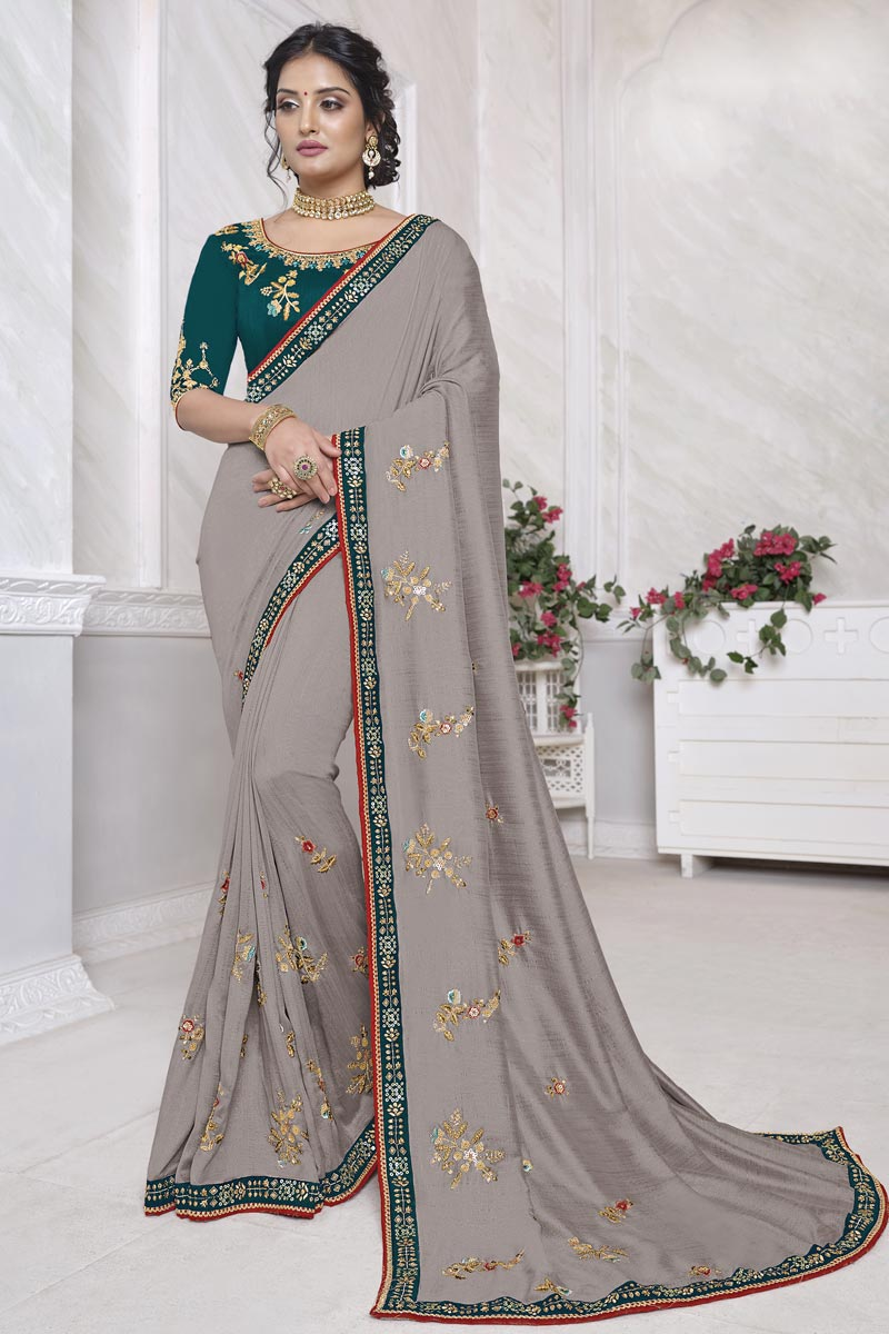 Grey Color Festive Wear Alluring Art Silk Fabric Saree With Embroidered Blouse
