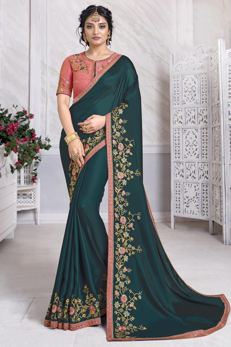Teal Color Festive Wear Alluring Saree With Embroidered Blouse In Art Silk Fabric