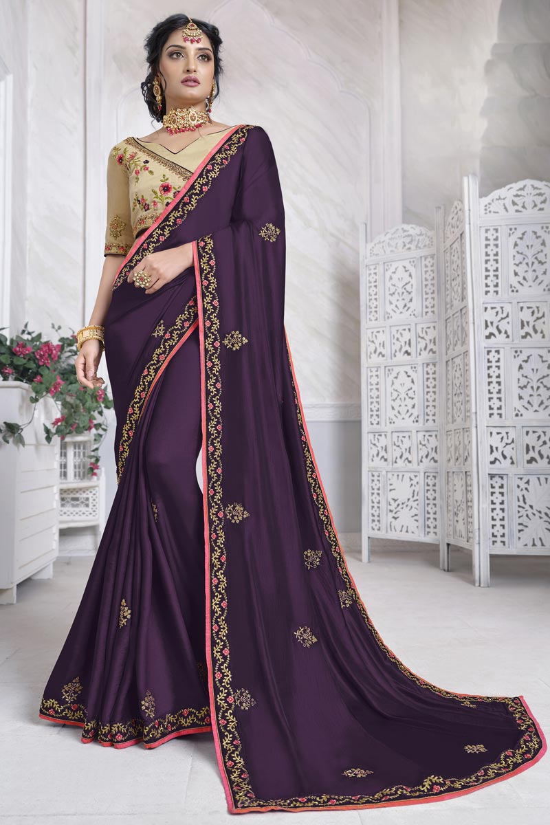 Art Silk Fabric Festive Wear Wine Color Alluring Saree With Embroidered Blouse