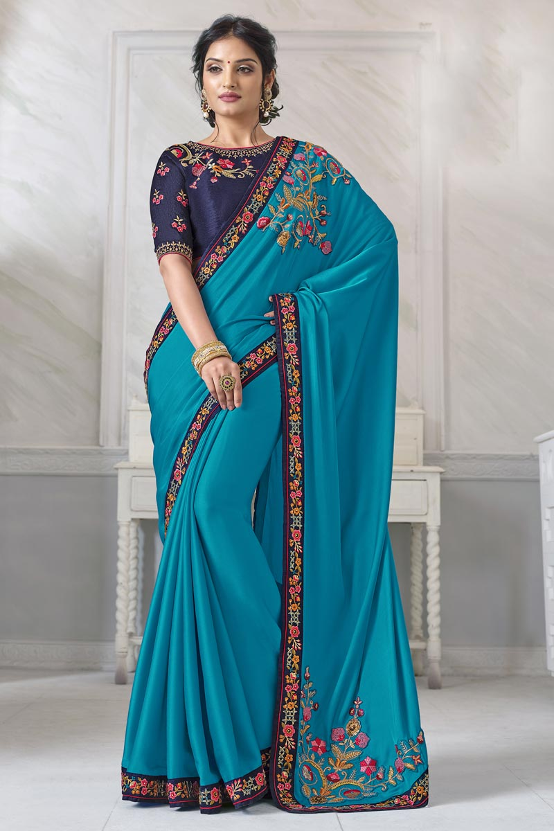 Festive Wear Sky Blue Color Alluring Saree With Embroidered Blouse In Art Silk Fabric