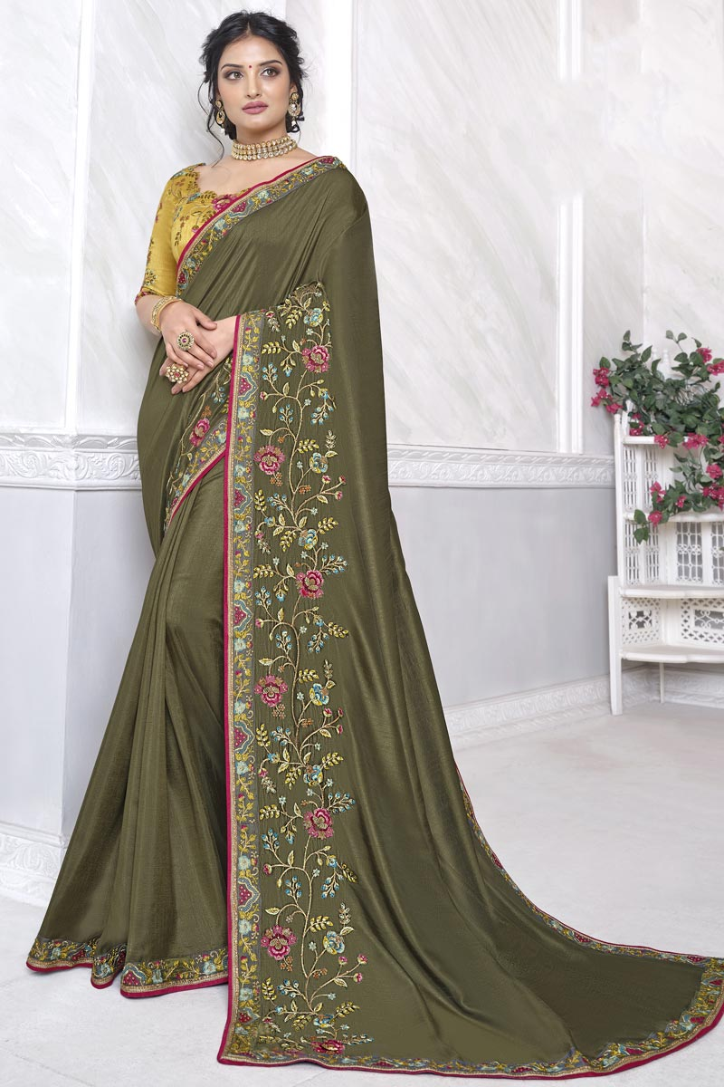 Art Silk Fabric Festive Wear Alluring Olive Color Saree With Embroidered Blouse