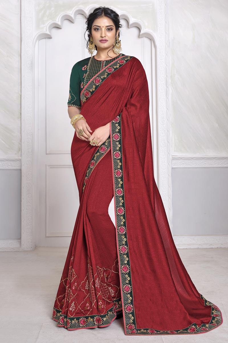 Festive Wear Maroon Color Alluring Saree With Embroidered Blouse In Art Silk Fabric