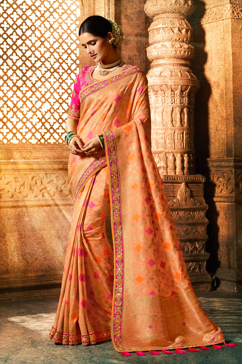 Eid Special Art Silk Fabric Salmon Color Weaving Work Designer Saree With Designer Blouse