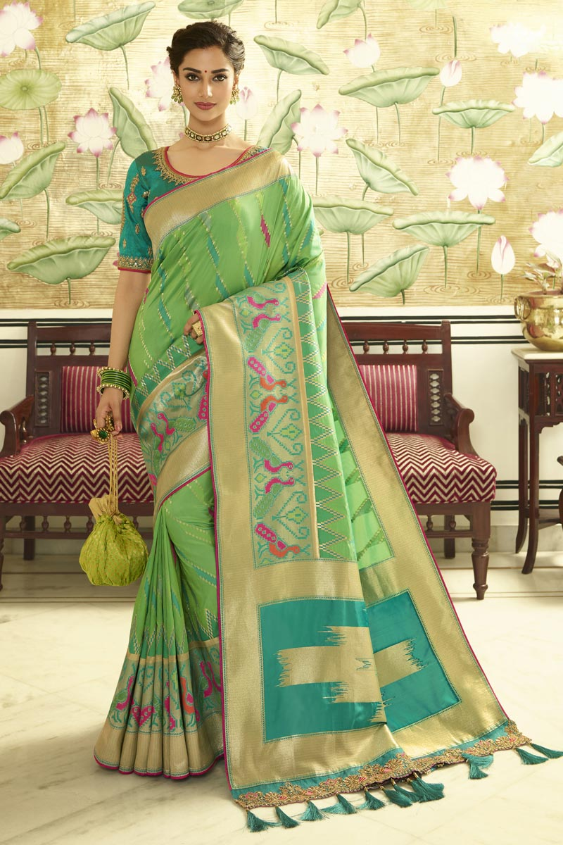 Function Wear Sea Green Banarasi Silk Weaving Work Saree With Embroidered Blouse