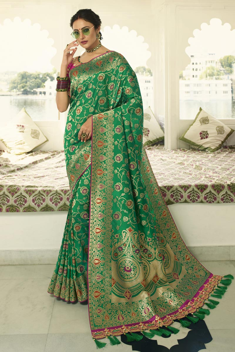 Eid Special Green Function Wear Banarasi Silk Fabric Weaving Work Saree With Embroidered Blouse