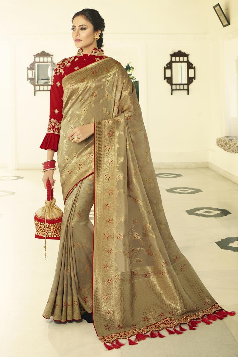 Eid Special Dark Beige Function Wear Banarasi Silk Weaving Work Saree With Embroidered Blouse