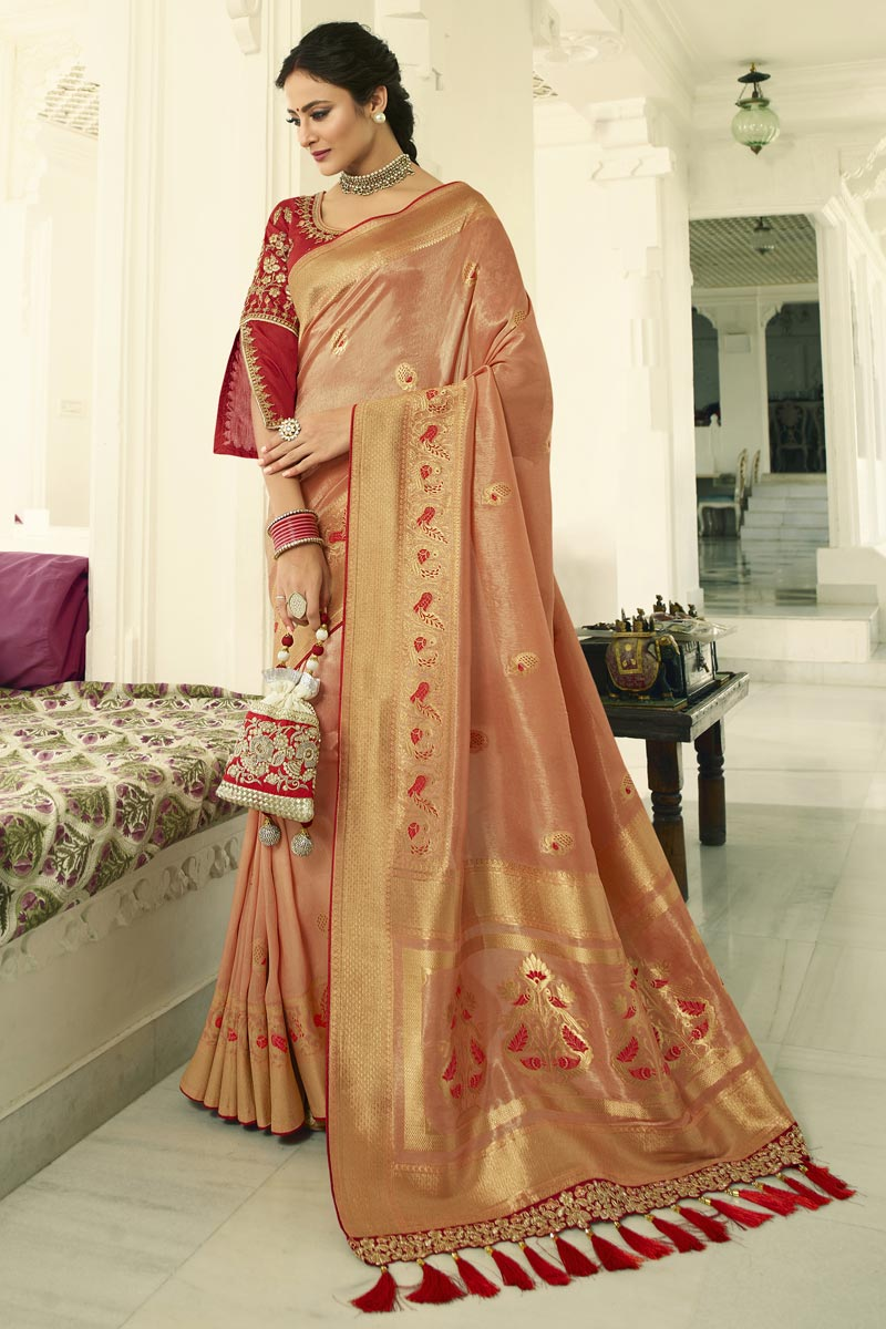 Eid Special Function Wear Banarasi Silk Peach Weaving Work Saree With Embroidered Blouse