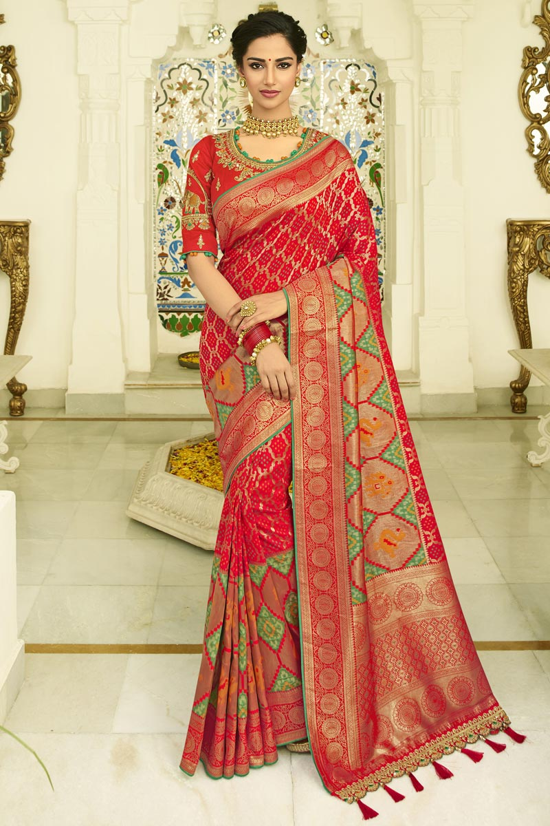 Banarasi Silk Function Wear Red Weaving Work Saree With Embroidered Blouse