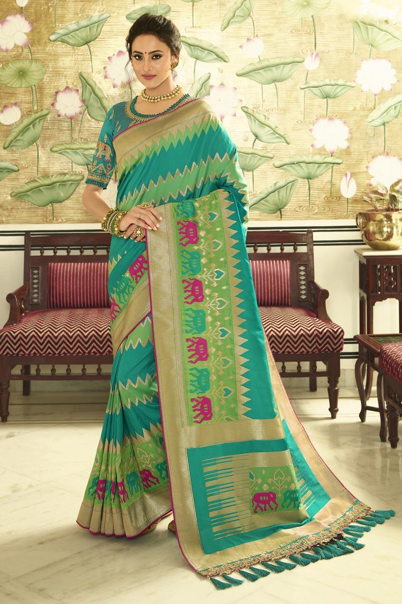 Function Wear Cyan Weaving Work Saree With Embroidered Blouse In Banarasi Silk