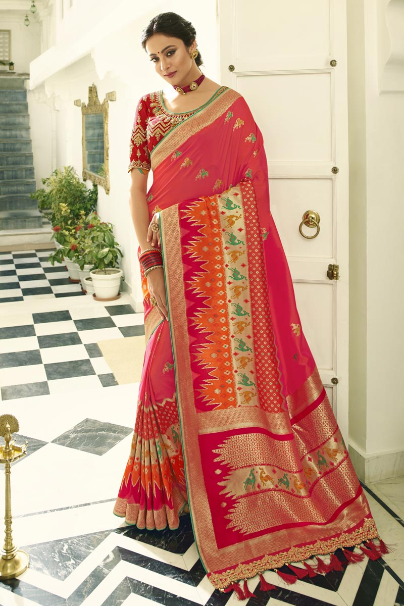 Pink Banarasi Silk Function Wear Weaving Work Saree With Embroidered Blouse