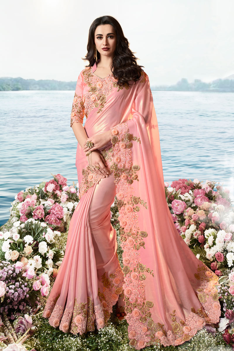 Viscose And Net Fabric Pink Color Function Wear Saree With Embroidery Designs And Gorgeous Blouse