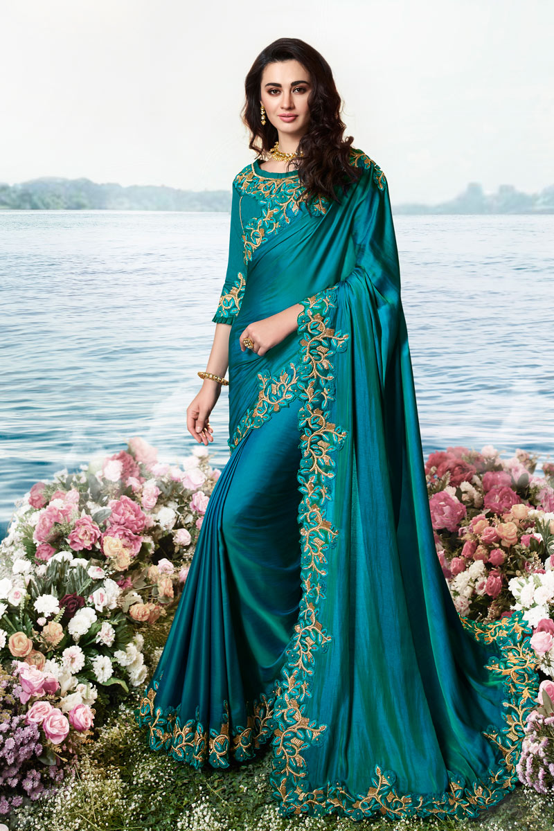 Eid Special Sky Blue Color Art Silk And Net Fabric Occasion Wear Saree With Embroidery Work And Attractive Blouse