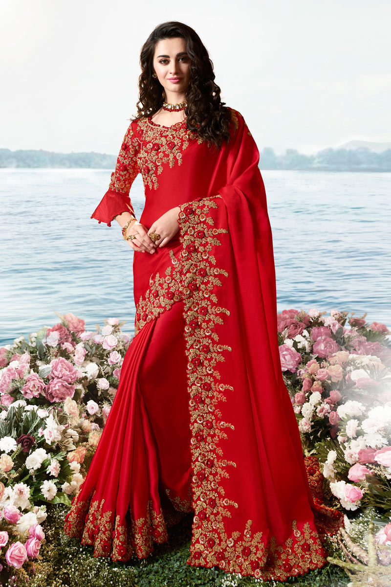 Eid Special Art Silk And Net Fabric Party Wear Embroidered Saree In Red Color With Designer Blouse