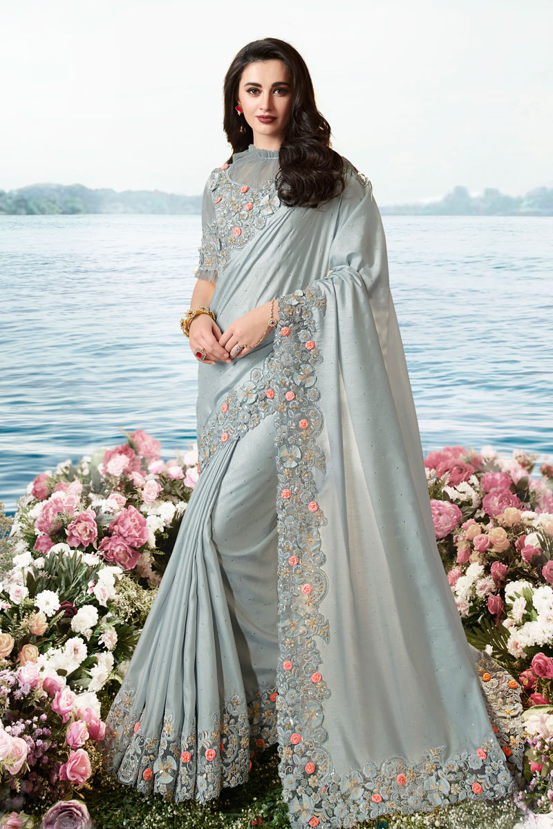 Eid Special Function Wear Grey Color Embroidered Saree In Viscose And Net Fabric With Party Wear Blouse