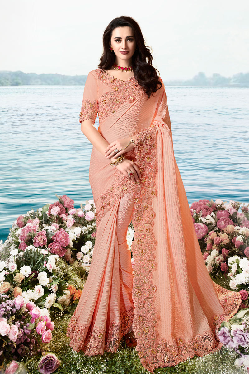 Eid Special Embroidered Peach Color Art Silk And Net Fabric Designer Saree With Mesmerizing Blouse