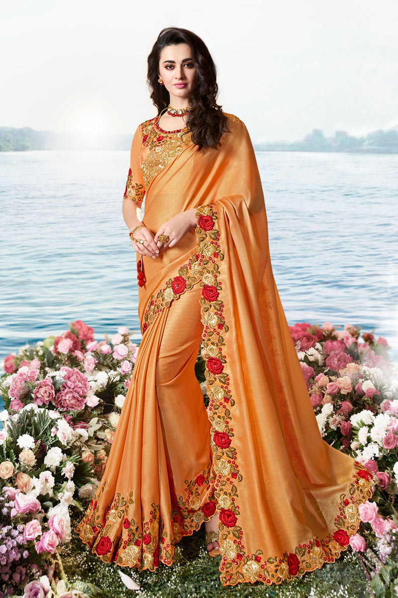 Peach Color Embroidery Designs On Viscose And Net Fabric Occasion Wear Saree With Gorgeous Blouse