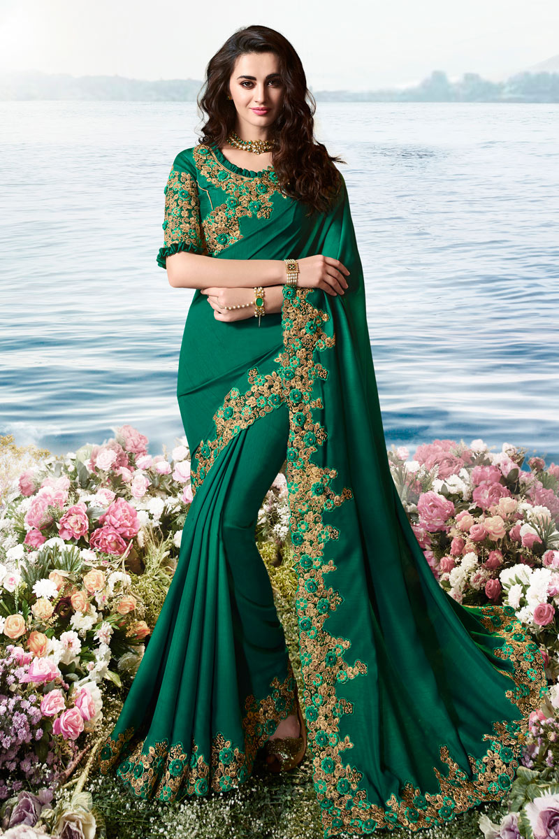 Embroidered Work On Satin Silk And Net Fabric Teal Color Designer Saree With Captivating Blouse