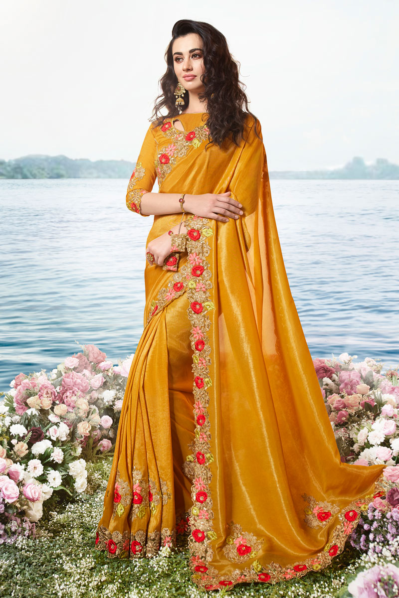 Embroidery Work On Viscose And Net Fabric Orange Color Designer Saree With Party Wear Blouse