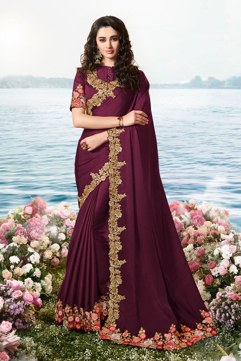 Eid Special Embroidery Work On Wine Color Party Wear Saree In Satin Silk And Net Fabric With Ravishing Blouse