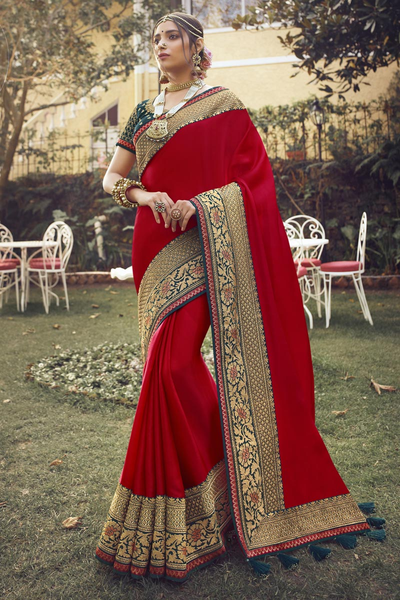 Art Silk Fabric Sangeet Wear Chic Saree With Embroidered Blouse In Red Color