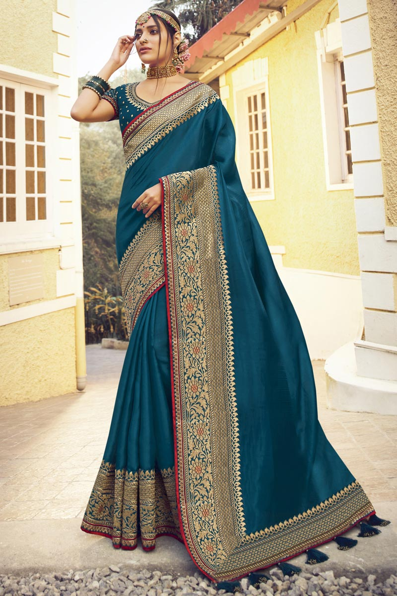 Sangeet Wear Teal Color Chic Art Silk Fabric Saree With Embroidered Blouse