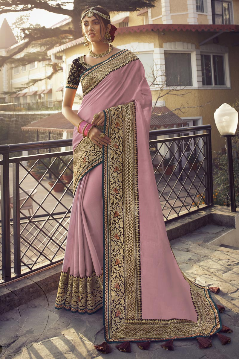 Sangeet Wear Art Silk Fabric Chic Saree With Embroidered Blouse In Pink Color