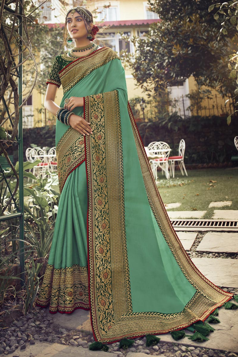Sea Green Color Sangeet Wear Chic Art Silk Fabric Saree With Embroidered Blouse