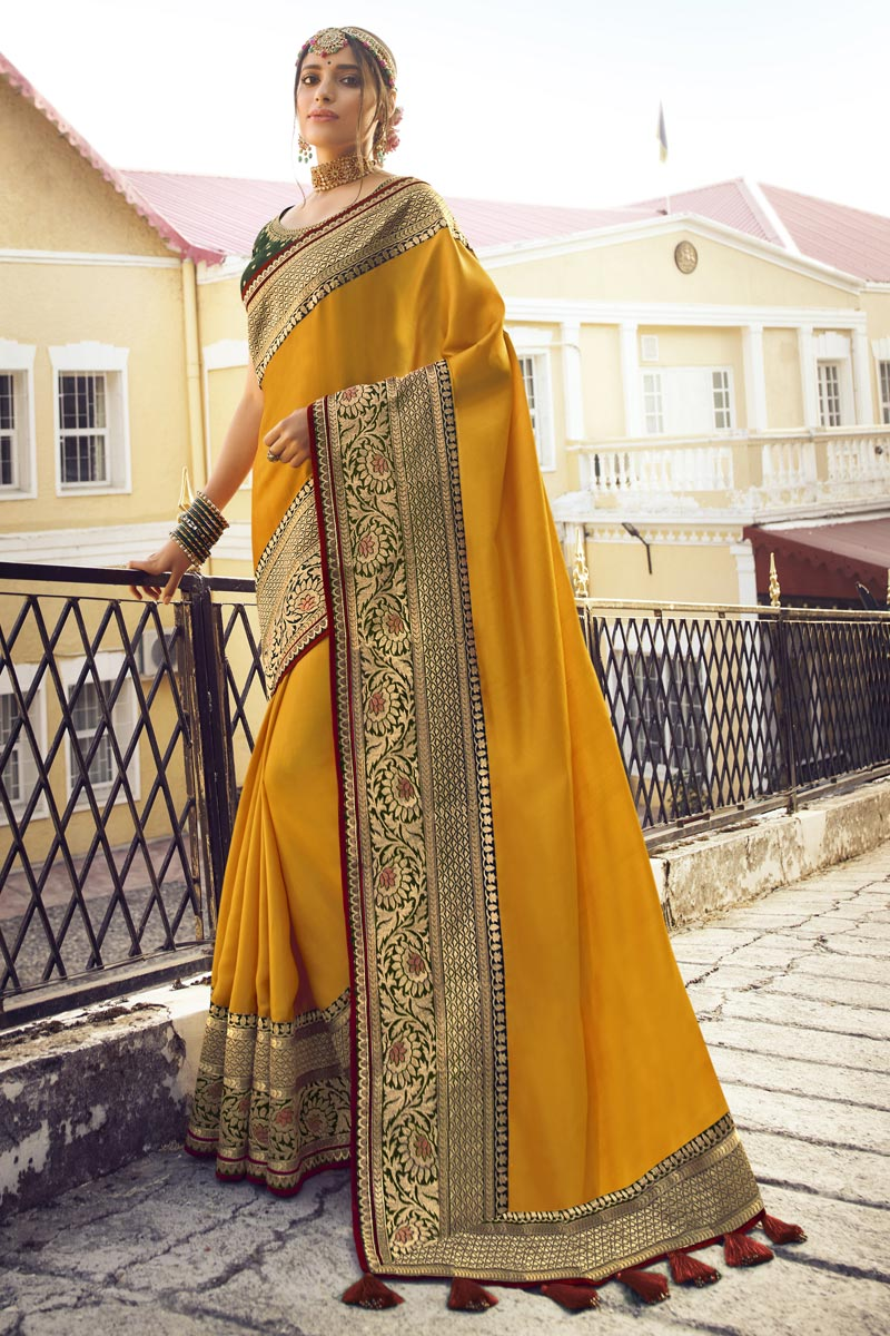 Mustard Color Chic Sangeet Wear Art Silk Fabric Saree With Embroidered Blouse