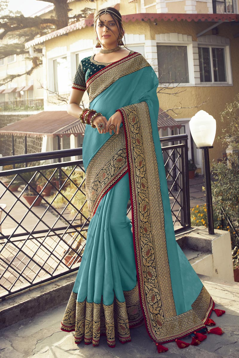 Art Silk Fabric Sangeet Wear Cyan Color Chic Saree With Embroidered Blouse