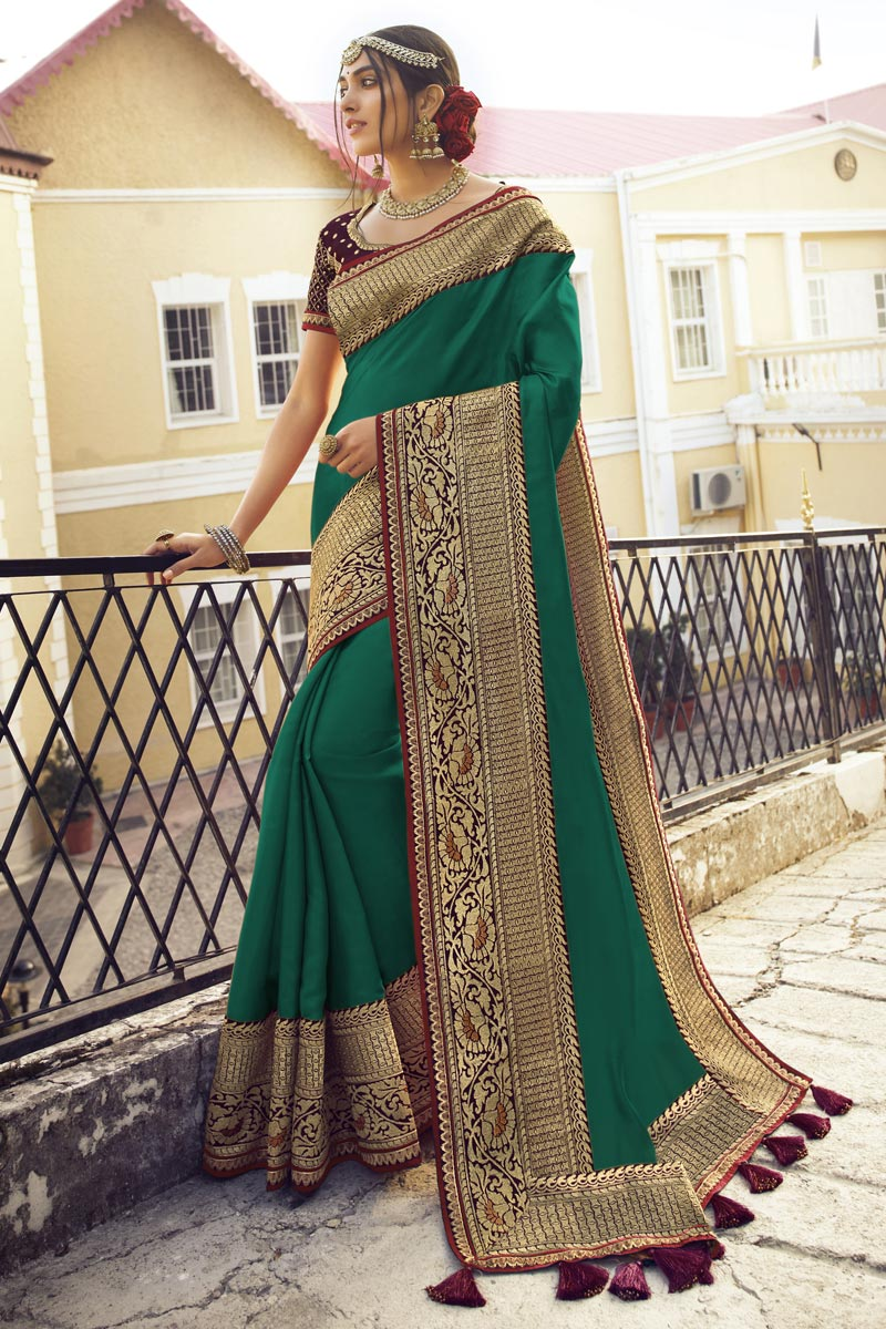 Green Color Sangeet Wear Chic Saree With Embroidered Blouse In Art Silk Fabric