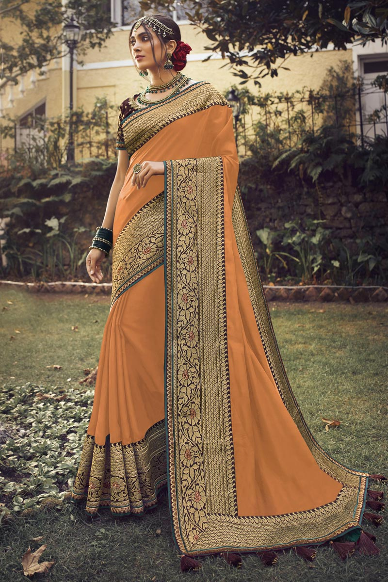 Sangeet Wear Art Silk Fabric Chic Orange Color Saree With Embroidered Blouse
