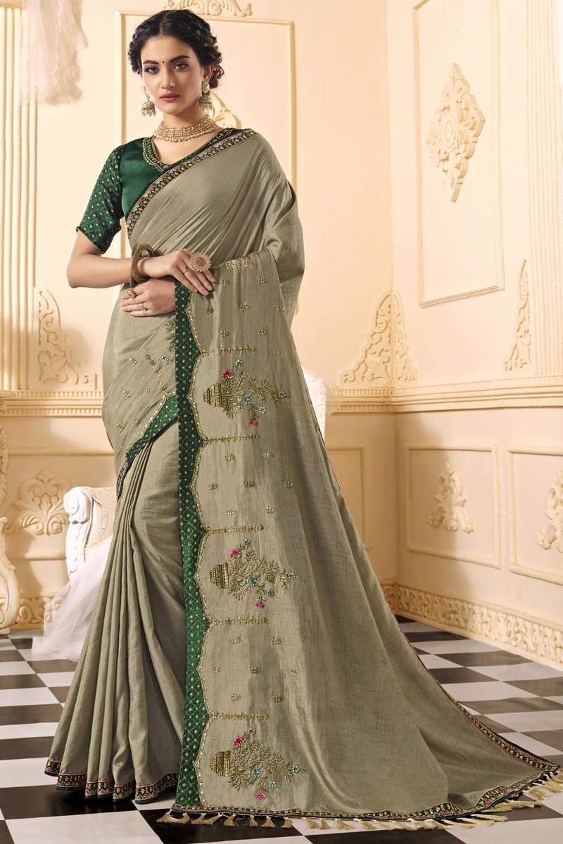 Dark Beige Color Party Wear Art Silk Fabric Alluring Embroidered Saree