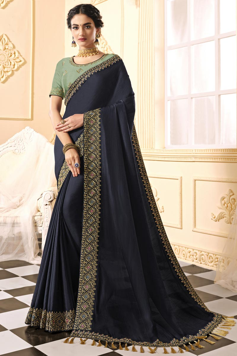 Art Silk Fabric Party Wear Alluring Embroidered Saree In Navy Blue Color