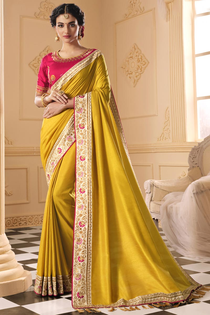 Party Wear Yellow Color Alluring Art Silk Fabric Embroidered Saree