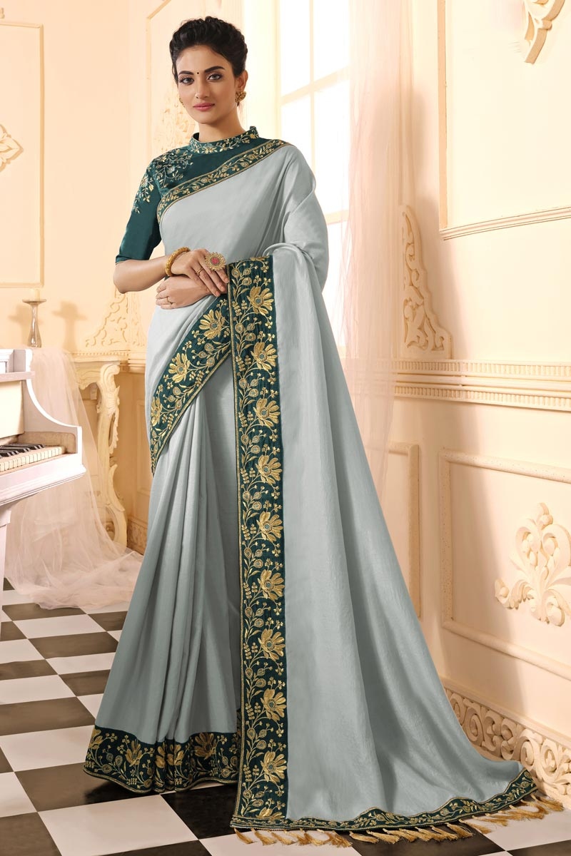 Party Wear Art Silk Fabric Alluring Embroidered Saree In Grey Color