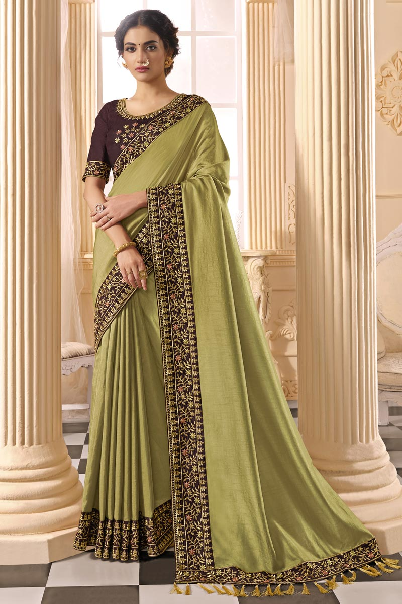 Mehendi Green Color Party Wear Alluring Art Silk Fabric Embroidered Saree