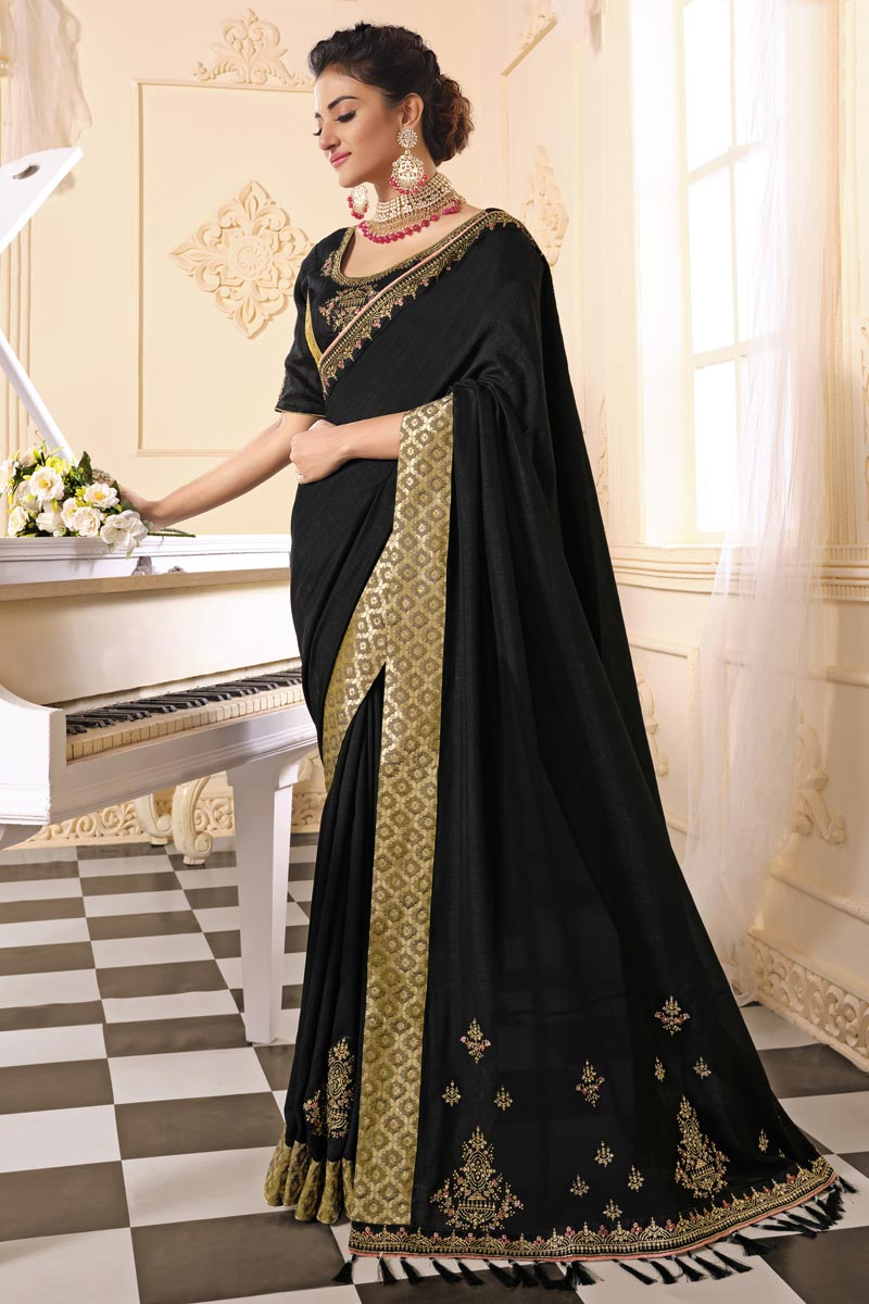 Black Color Alluring Party Wear Art Silk Fabric Embroidered Saree