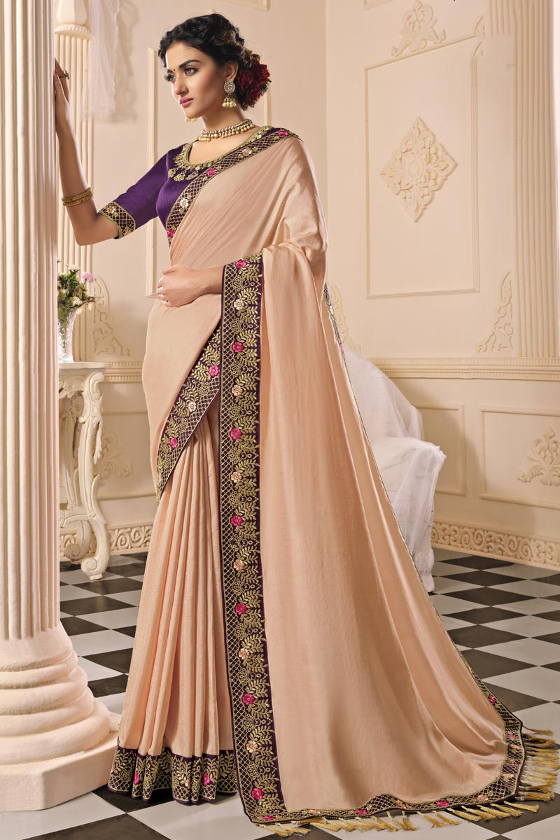 Art Silk Fabric Party Wear Peach Color Alluring Embroidered Saree