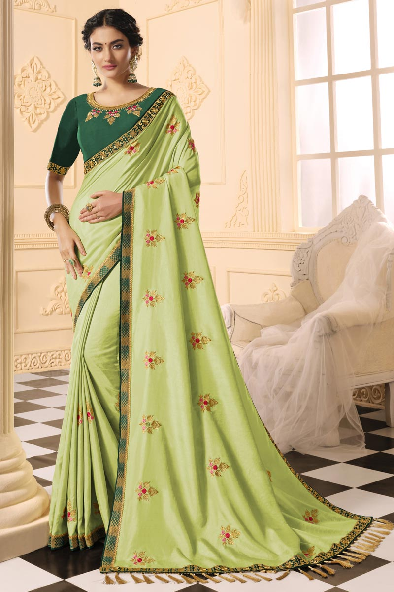 Sea Green Color Party Wear Alluring Embroidered Saree In Art Silk Fabric