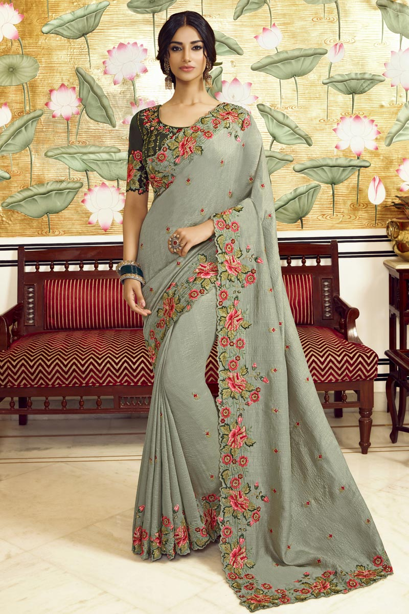 Party Style Art Silk Fabric Trendy Embroidered Saree In Grey Color