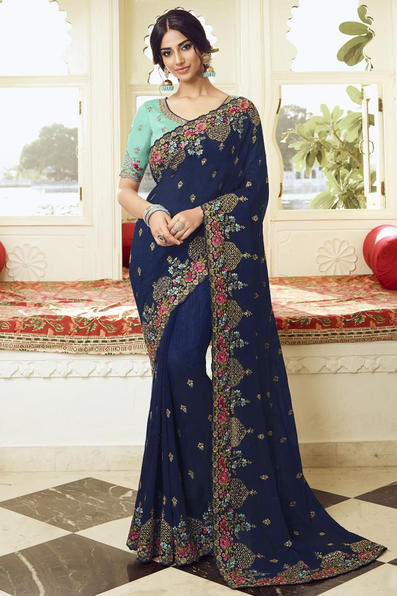 Navy Blue Color Party Style Art Silk Fabric Trendy Embroidered Saree