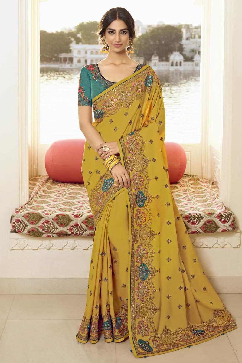 Art Silk Fabric Trendy Party Style Mustard Color Embroidered Saree